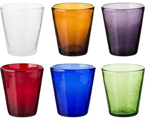 Bicchiere acqua in vetro soffiato Cancun, set di 6, Vetro soffiato, Multicolore, Ø 9 x Alt. 11 cm