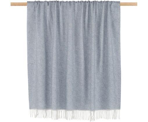 Woll-Plaid Alison, Graublau, Gebrochenes Weiß