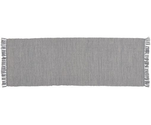Baumwollläufer Dag mit Fransenabschluss, Baumwolle, Blaugrau, 70 x 200 cm
