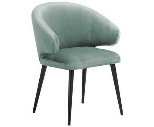 Sedia con braccioli in velluto Celia, Rivestimento: velluto (poliestere) 50.0, Gambe: metallo verniciato a polv, Turchese, Larg. 57 x Prof. 62 cm