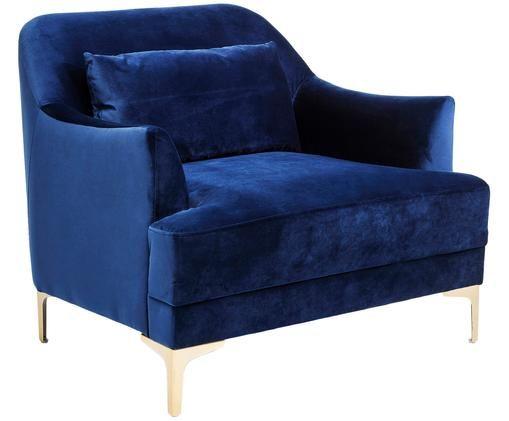 Sedia cantilever  in velluto Proud, Rivestimento: poliestere (velluto), Piedini: metallo verniciato, Struttura: legno di pino, Rivestimento: blu Piedini: dorato, L 98 x P 86 cm