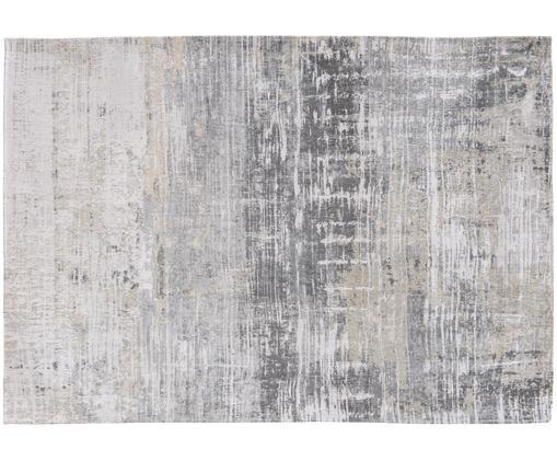 Design vloerkleed Streaks, Bovenzijde: 85%katoen, 15%hoogglanz, Weeftechniek: jacquard, Onderzijde: katoenmix, gecoat met lat, Grijstinten, 200 x 280 cm