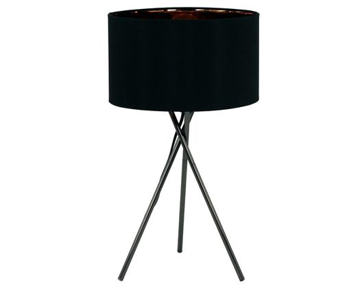 Lampada da tavolo Giovanna, Struttura: acciaio, Paralume: nylon, Struttura: nero, paralume: esterno: nero, interno: rame, Ø 26 x Alt. 46 cm