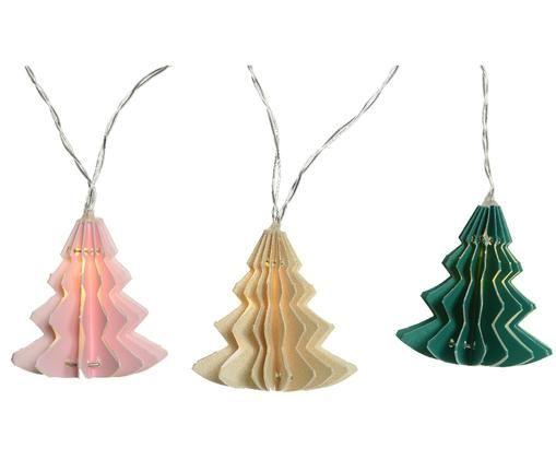 Guirnalda de luces LED Trees, Rosa, crema, verde