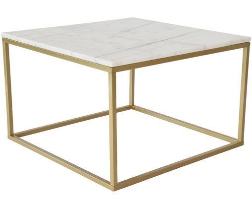 Marmor-Couchtisch Accent mit Metallgestell, Tischplatte: Marmor, Gestell: Metall, pulverbeschichtet, Weiß, Messingfarben, 75 x 48 cm
