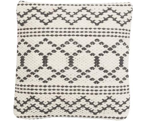 Poszewka na poduszkę Claudia, 50% wełna, 25% bawełna, 25% poliester, Kremowobiały, czarny, S 45 x D 45 cm