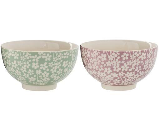 Set ciotole Seeke, 2 pz., Ceramica, Viola, verde, crema, Ø 14 x A 8 cm