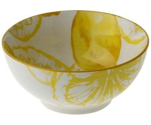 Ciotola Lemon, Porcellana, Bianco, giallo, Ø 14 x Alt. 7 cm