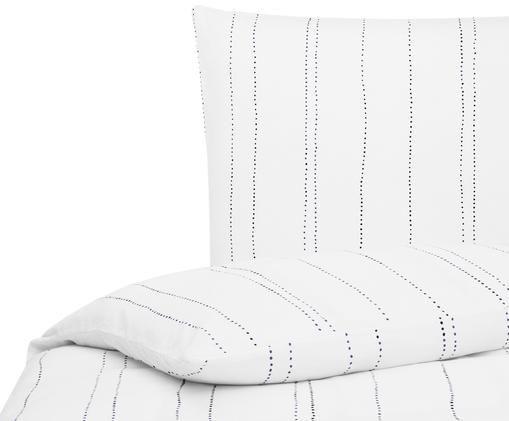 Leinen-Bettwäsche Lilo, 52% Leinen, 48% Baumwolle Mit Stonewash-Effekt für einen weichen Griff, Weiß, Marineblau, 155 x 220 cm