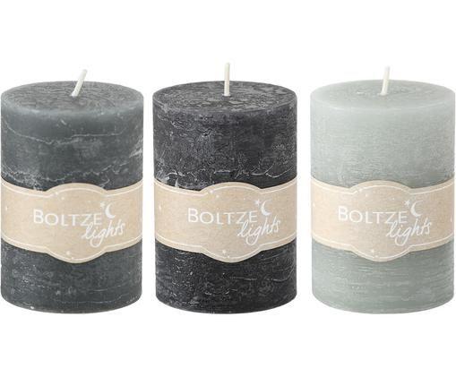 Ensemble de bougies Birara, 3 élém., Tons gris