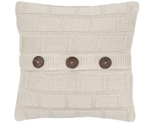Housse de coussin en tricot avec boutons en bois Clara, Beige, chiné