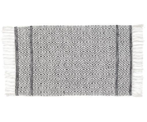 Badvorleger Frange, Baumwolle, schwere Qualität 1500 g/m², Grau, Weiß, 50 x 80 cm