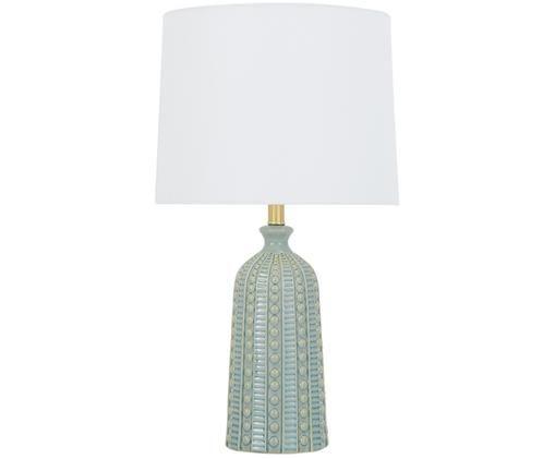 Tischleuchte Nizza, Lampenschirm: Textil, Lampenfuß: Keramik, Metall, vermessi, Salbeigrün, Ø 35 x H 60 cm