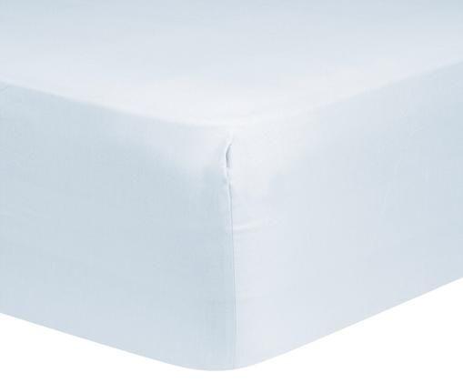 Sábana bajera de satén Comfort, Azul claro, Cama 90 cm (90 x 200 cm)