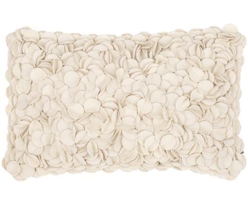 Cuscino in feltro di lana Bed of Roses, Beige chiaro