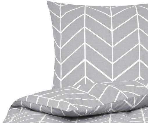 Renforcé-Bettwäsche Mirja mit grafischem Muster, Grau, Cremeweiß
