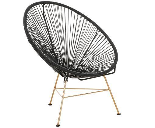 Fotel Grace, Stelaż: metal powlekany, Siedzisko: czarny Stelaż: odcienie złotego, S 81 x G 73 cm