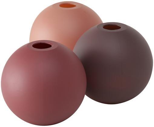 Set 3 vasi in vetro Merlinde, Vetro verniciato, Rosa, rosso, vino rosso, Ø 10 x Alt. 10 cm