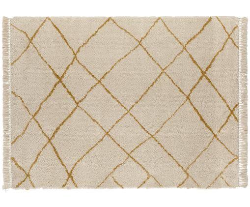 Soffice tappeto Primrose in crema con motivo a rombi, Crema, giallo dorato