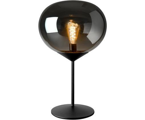 Lampada da tavolo in vetro cromato Drop, Paralume: vetro cromato, Base della lampada: metallo verniciato, Argento, nero, Ø 36 x Alt. 59 cm