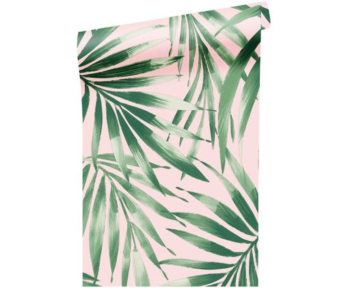 Carta da parati Leaves Blush, Verde, rosa