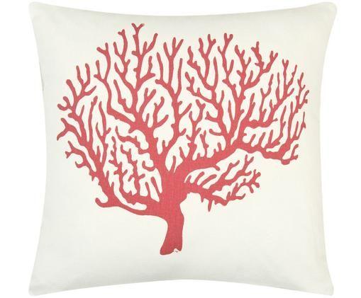Federa arredo con stampa corallo Coral, 100% cotone, tessuto panama, Corallo, crema, Larg. 40 x Lung. 40 cm