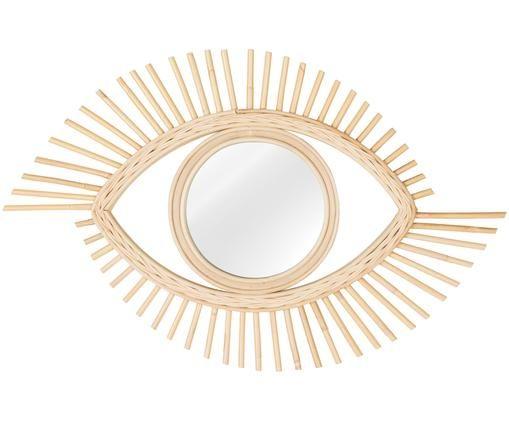 Deko-Spiegel Zain mit Rattanrahmen, Rahmen: Rattan, Spiegelfläche: Spiegelglas, Beige, 70 x 45 cm