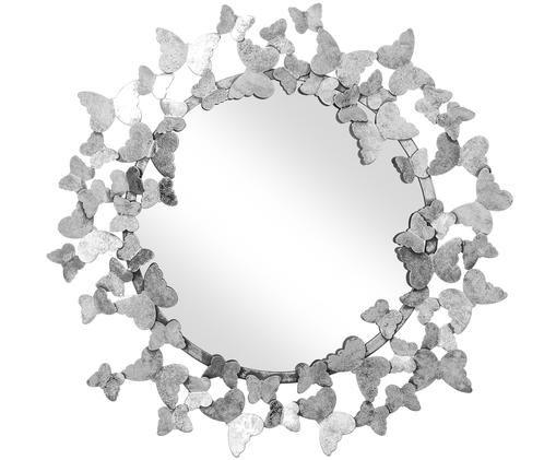 Wandspiegel Butterfly, Rahmen: Metall, Rückseite: Mitteldichte Holzfaserpla, Spiegelfläche: Spiegelglas, Silberfarben, Ø 67 cm