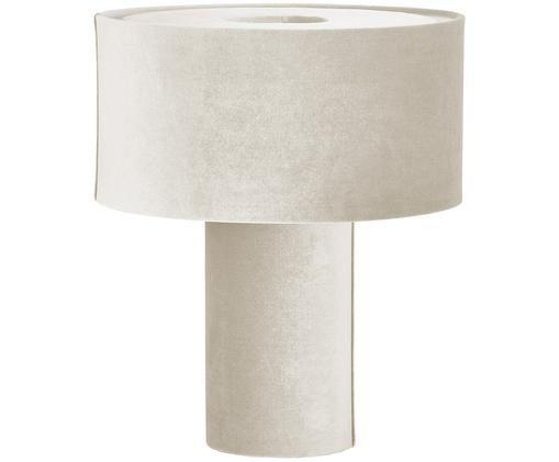 Samt-Tischleuchte Frida, Lampenfuß: Kunststoff mit Samtbezug, Lampenschirm: Samt, Hellgrau, Ø 30 x H 36 cm