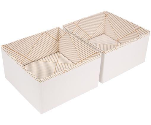 Organizer Drawer, 2szt., Odcienie złotego, biały