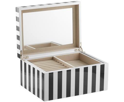 Szkatułka na biżuterię z lustrzaną powierzchnią Taylor, Czarny/biały paski, S 26 x W 13 cm