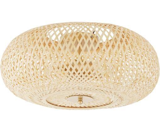 Plafoniera in bambù fatta a mano Evelyn, Paralume: bambù, Paralume: bambù Baldacchino e fissaggio: beige opaco, Ø 50 x Alt. 20 cm