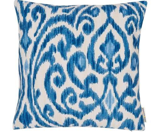 Federa arredo in lino Ikat Floral, 60% lino, 40% cotone, Blu, bianco, Larg. 45 x Lung. 45 cm