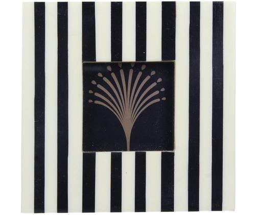 Ramka na zdjęcia Stripey, Czarny, biały, S 4 x D 4 cm