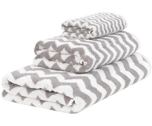 Set 3 asciugamani con motivo a zigzag Liv, Grigio, bianco crema, Diverse dimensioni