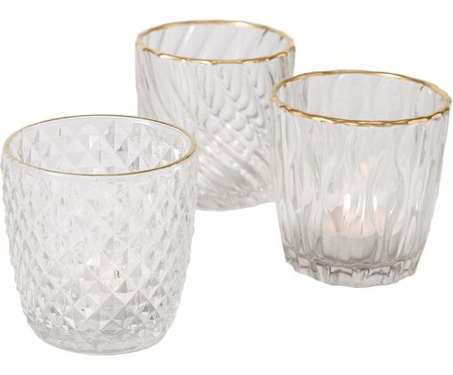 Świecznik na podgrzewacz Adore, 3 elem., Szkło lakierowane, Transparentny, odcienie złotego, Ø 11 x W 9 cm