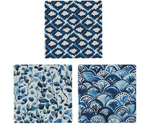 Set sottobicchieri Vas, 3 pz., Ceramica, Blu, Larg. 10 x Prof. 10 cm