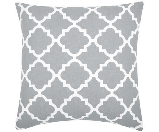 Kissenhülle Lana mit grafischem Muster, Baumwolle, Grau, Weiss, 45 x 45 cm