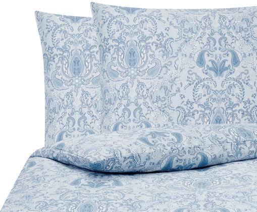 Baumwollsatin-Bettwäsche Grantham mit Paisley-Muster, Blau, 200 x 200 cm