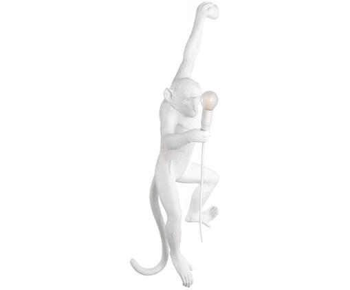 Wandlamp Monkey met stekker, Kunsthars, Wit, 77 x 37 cm