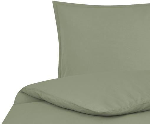 Gewaschene Leinen-Bettwäsche Breeze in Olivgrün, 52% Leinen, 48% Baumwolle Mit Stonewash-Effekt, Olivgrün, 135 x 200 cm