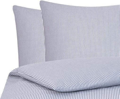 Parure copripiumino renforcé finemente rigata Ellie, Tessuto: Renforcé, Bianco, blu scuro, 200 x 200 cm