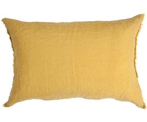 Cojín de lino Casual, con relleno, Parte superior: lino lavado, Reverso: algodón, Ocre, An 40 x L 60 cm