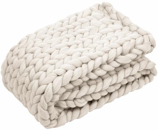Plaid di lana merino lavorato a mano Chunky, 100% lana merino, Bianco crema, Larg. 70 x Lung. 150 cm