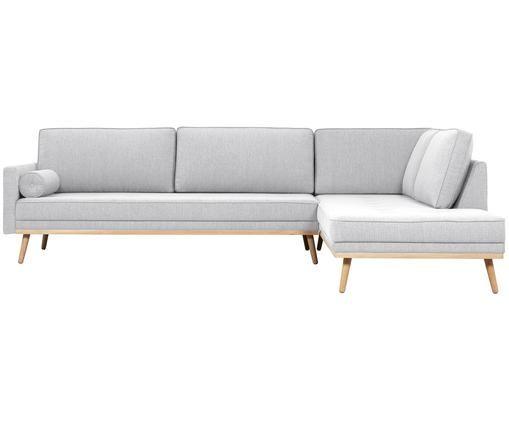 Ecksofa Saint (4-Sitzer), Bezug: Polyester 50.000 Scheuert, Gestell: Massives Kiefernholz, Spa, Hellgrau, 294 x 70 cm