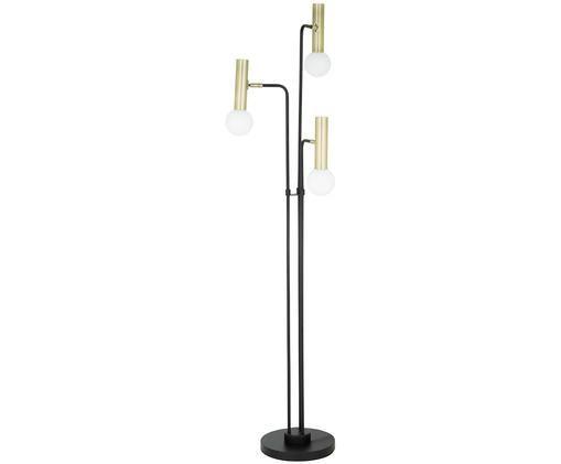 Lámpara de pie LED Wilson, Cable: tela, Base de la lámpara: negro Pantalla: blanco, dorado Cable: negro, Ø 46 x Al 165 cm