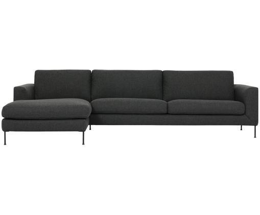 Ecksofa Cucita (4-Sitzer), Bezug: Webstoff (Polyester) 45.0, Gestell: Massives Kiefernholz, Füße: Metall, lackiert, Webstoff Anthrazit, B 302 x T 163 cm