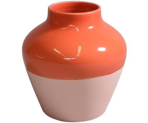 Vaso dipinto a mano Madalin, Terracotta, Rosa, rosso corallo, Ø 19 x Alt. 19 cm