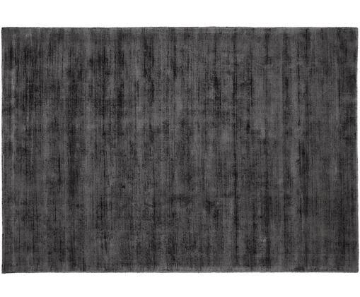 Tappeto in viscosa tessuto a mano Jane, Vello: 100% viscosa, Retro: 100% cotone, Nero antracite, Larg. 160 x Lung. 230 cm