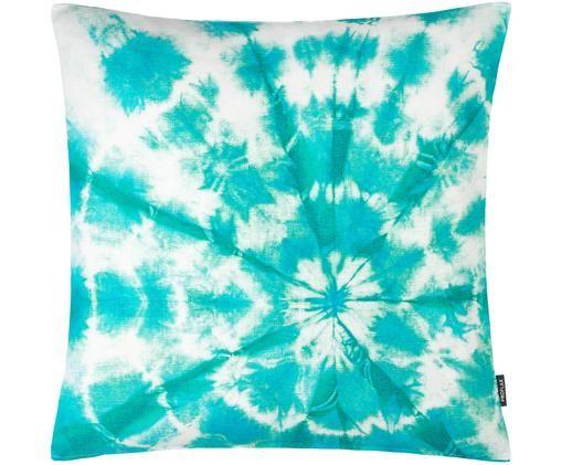 Federa arredo con stampa batik Barbados, Cotone, Turchese, Larg. 50 x Lung. 50 cm